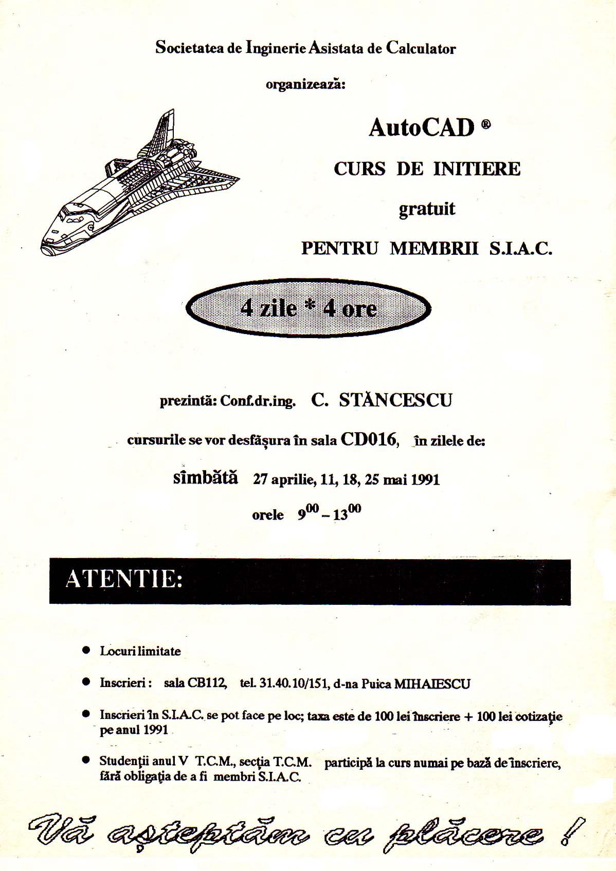 Afiș cu Primul curs de AutoCAD din România